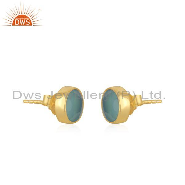 Exporter Aqua Chalcedony Gemstone Gold Plated 925 Silver Round Stud Earrings