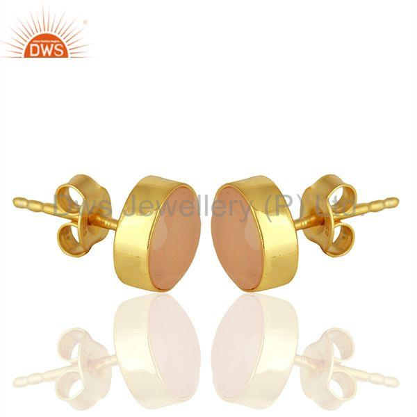 Exporter Gold Plated Sterling Silver Rose Chalcedony Gemstone Stud Earrings