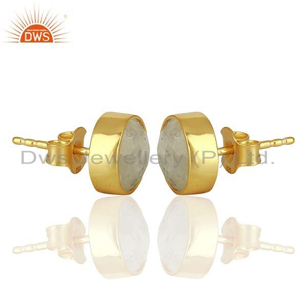 Exporter Rainbow Moonstone Gemstone Gold Plated Silver Stud Earring Manufacture