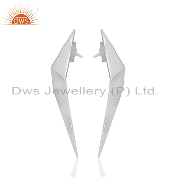 Exporter Solid Plain 92.5 Sterling Silver Designer Customized Earring Wholesale