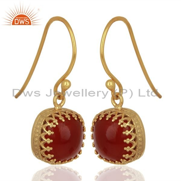 Wholesalers Yellow Gold Plated 925 Silver Carnelian Gemstone Designer Earrings