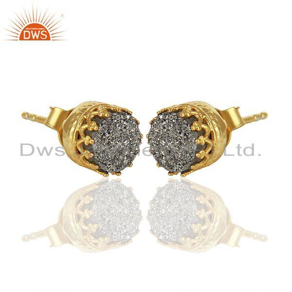 Exporter Silver Druzy Gemstone Gold Plated 925 Silver Round Stud Earrings