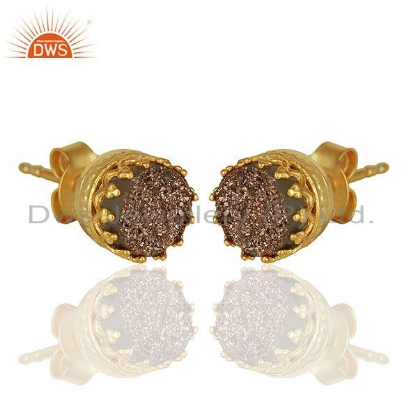 Exporter Copper Druzy Gemstone Gold Plated 925 Silver Stud Earring Manufacturer