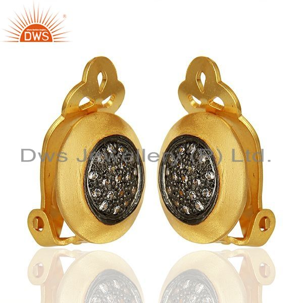 Exporter Gold Plated Sterling Silver White Zircon Gemstone Stud Earring Jewelry
