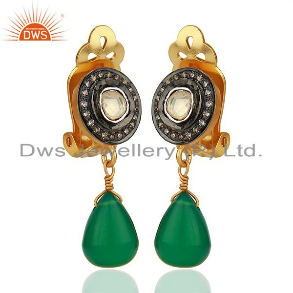 Exporter CZ and Green Onyx Gemstone Gold Plated Silver Clip Earrings Jewelry
