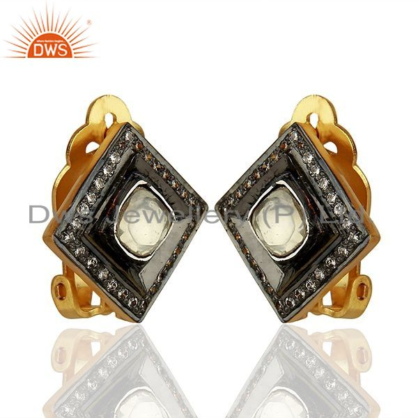 Exporter Crystal Quartz and CZ Gold Plated Silver Stud Clip Earrings Supplier