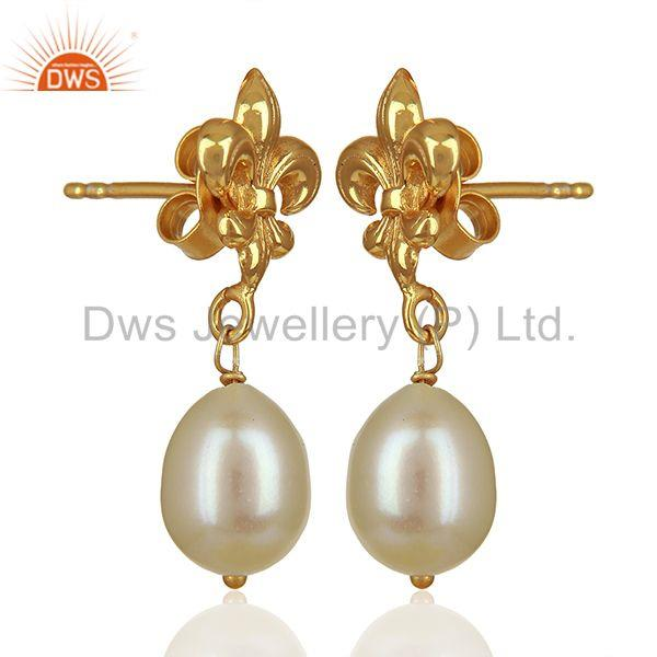 Exporter Royal Sign 925 Silver Gold Plated Pearl Gemstone Drop Earrings Jewelry