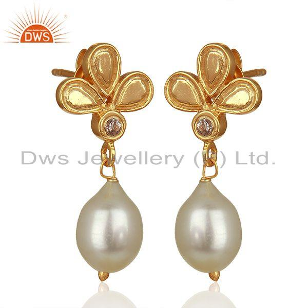 Exporter Leaf Design 925 Silver Gold Plated Pearl Earrings Jewelry Manufacturer