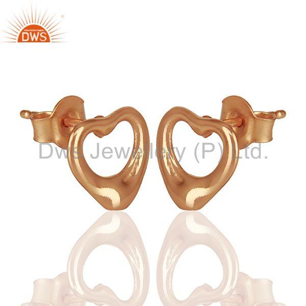 Exporter Open Heart 925 Sterling Silver Rose Gold Plated Stud Earring Wholesale Jewelry