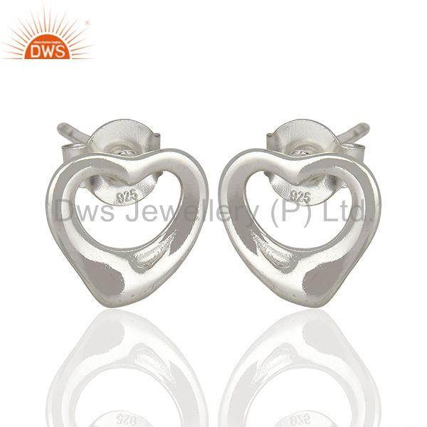 Exporter Open Heart 925 Sterling Silver Stud Earring Wholesale Jewelry