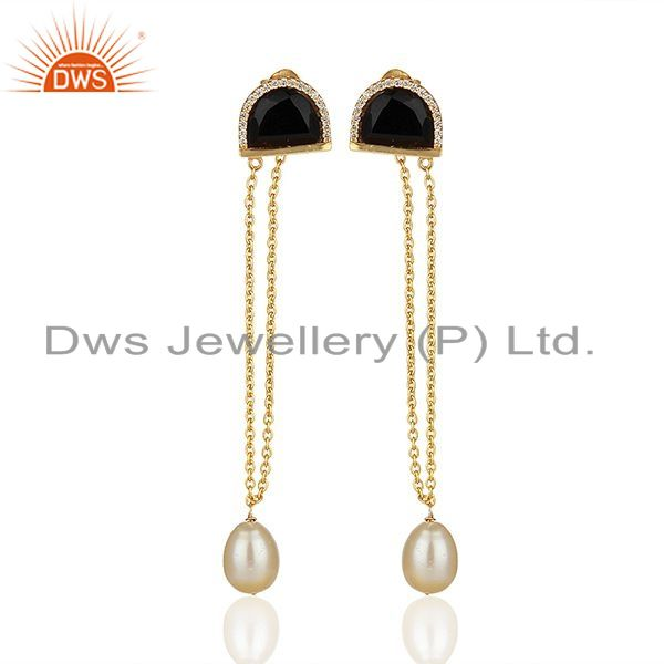 Exporter Black Onyx and White Pearl Gold Plated Silver Chain Earrings Jewelry
