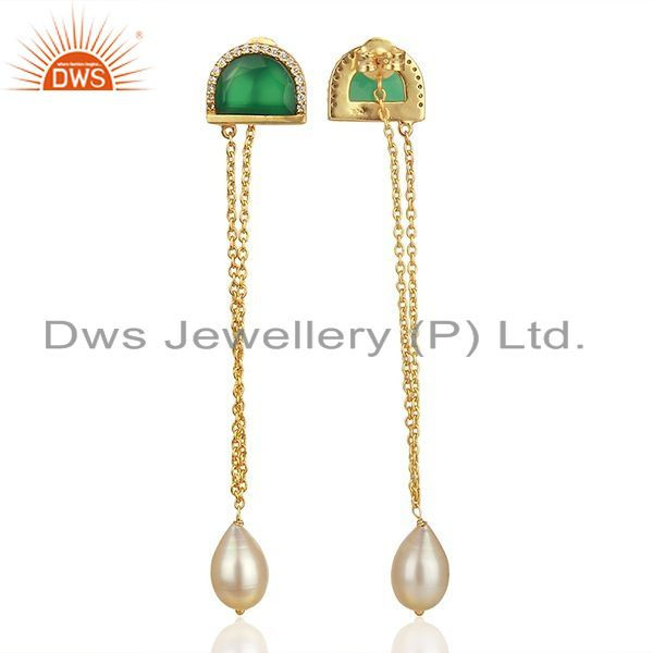 Exporter Onyx Gemstone with Cz Gold Plated 925 Silver Chain Earrings Wholesale