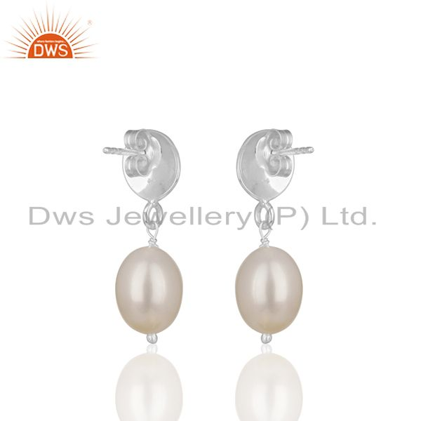 Exporter Natural Pearl Gemstone Handmade 925 Silver Drop Earrings Manufacturer from India