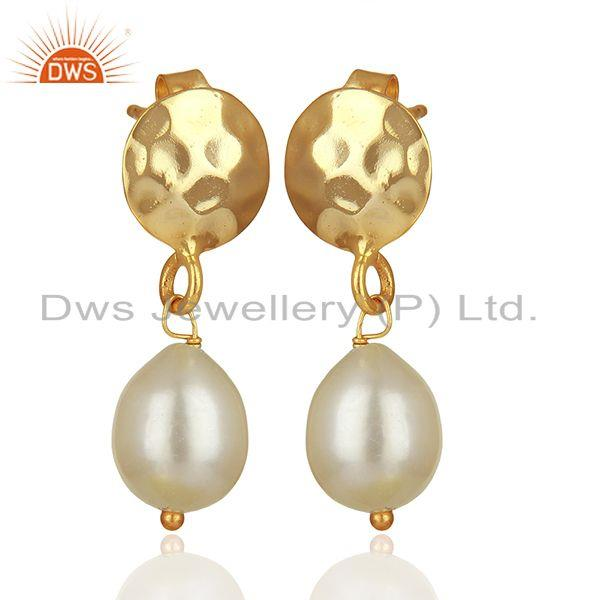 Exporter Handmade 925 Silver Gold Plated Pearl Drop Earrings Wholesale