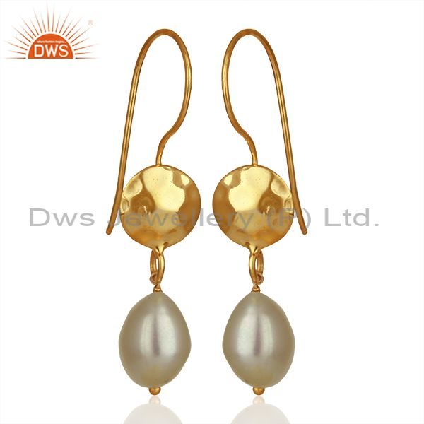 Exporter Designer Gold Plated 925 Silver Pearl Gemstone Drop Earrings Supplier