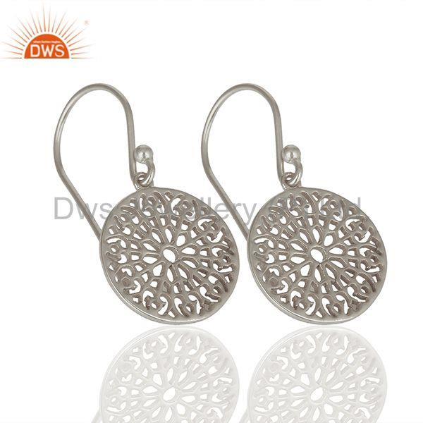 Exporter Gardens Inspired 925 Sterling Silver White Rhodium Plated Round Earring