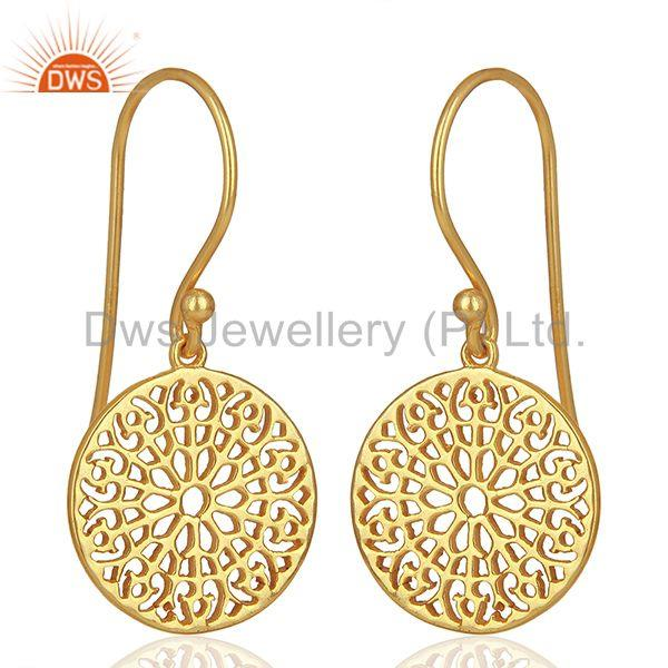 Exporter Gardens Inspired 925 Sterling Silver 18k Yellow Gold Plated Round Earring