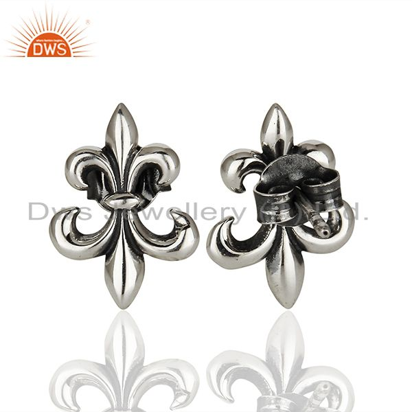 Exporter Chic Fleur de Lis Inspired 925 Sterling Silver Oxidized Stud Earrings
