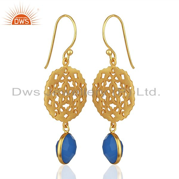 Exporter 925 Silver Gold Plated Designer Blue Chalcedony Gemstone Drop Earrings