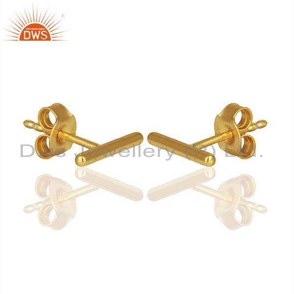 Exporter Solid Sterling Silver Gold Plated Bar Stud Earrings Manufacturers
