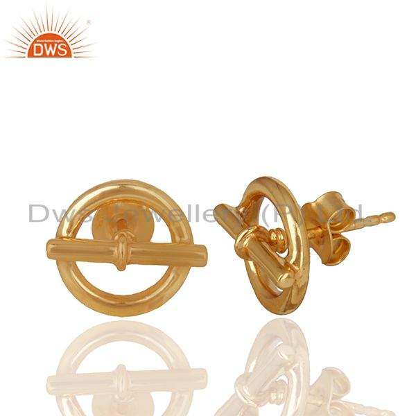 Exporter Mini Chaine d Ancre 925 Sterling Silver 18k Gold Plated Stud Earrings Jewelry
