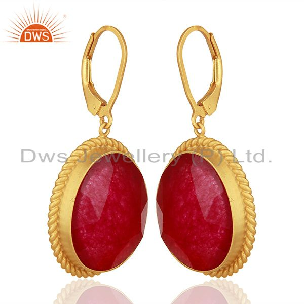 Exporter Handcrafted 925 Silver Gold Plated Aventurine Red Gemstone Earrings