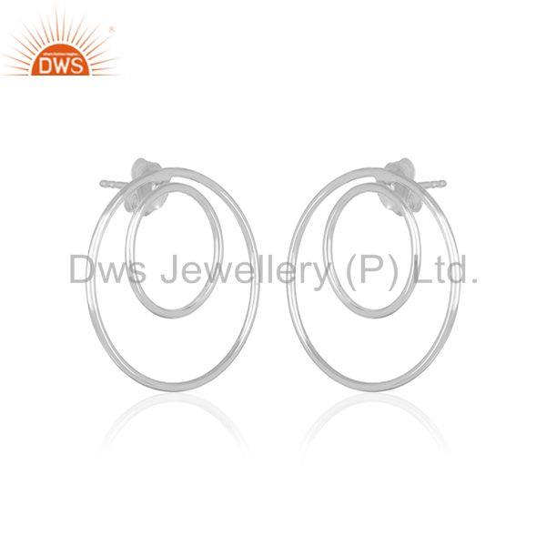 Exporter Plain 925 Sterling Fine Silver Double Circle Earring Custom Jewelry Manufacturer