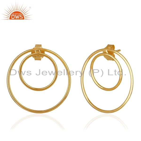 Exporter Gold Plated Sterling Silver Circle Design Earrings Manufacturers