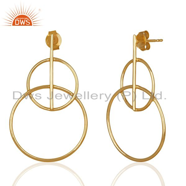 Exporter Handmade Plain 925 Silver Gold Plated Simple Earrings Supplier