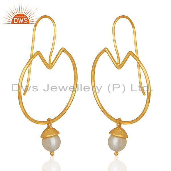 Exporter Natural Pearl Gold Plated Plain 925 Silver Simple Earrings Jewelry