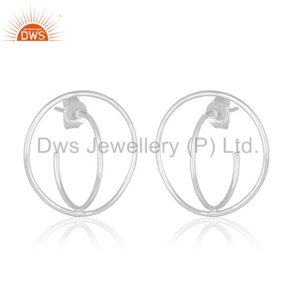 Exporter Handmade 925 Sterling Plain Fine Silver Circle Design Simple Girls Earring