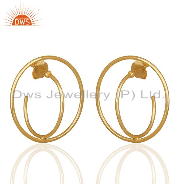Exporter Simple Design Silver Gold Plated Plain Earrings Manufacturer