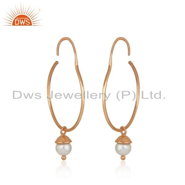 Exporter Rose Gold Plated 925 Silver Handmade Natural Pearl Girls Earrings Manufacturers