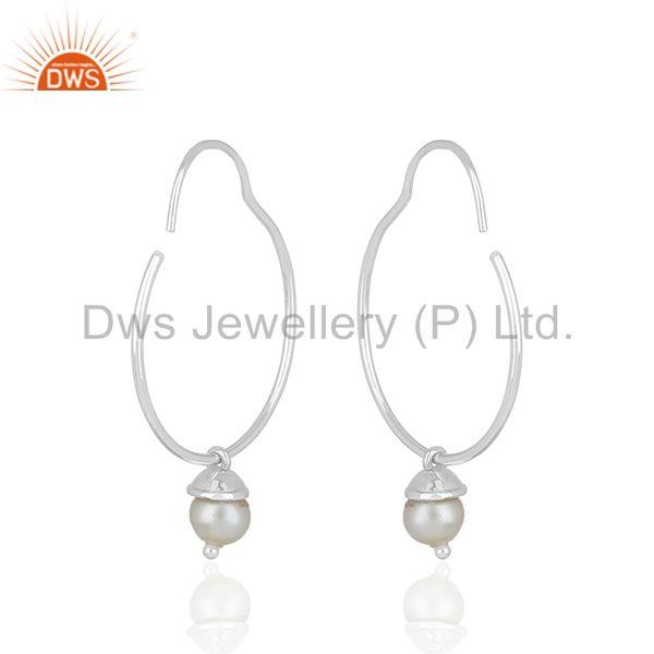 Exporter Simple 925 Sterling Plain Fine Silver Natural White Pearl Earring Wholesale