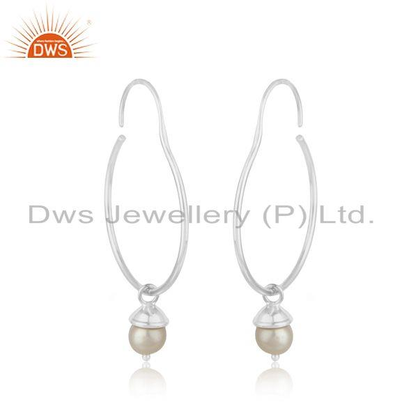 Exporter Handmade Fine Sterling Silver Natural Pearl Earrings for Girls Jewelry Wholesale