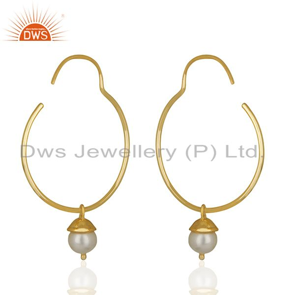 Exporter Handmade Gold Plated 925 Silver Pearl Gemstone Earrings Manufacturer