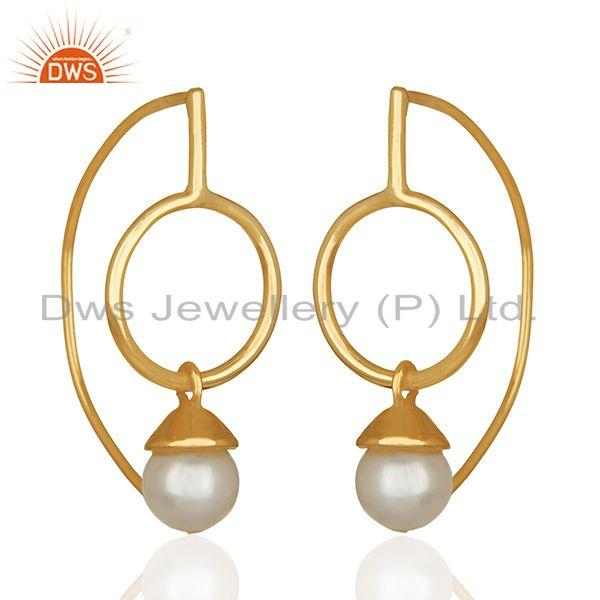 Exporter Natural White Pearl Gold Plated 925 Silver Drop Earrings jewelry