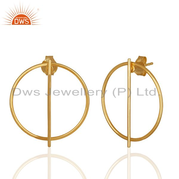 Exporter 925 Sterling Plain Silver Gold Plated Girls Stud Earrings Jewelry
