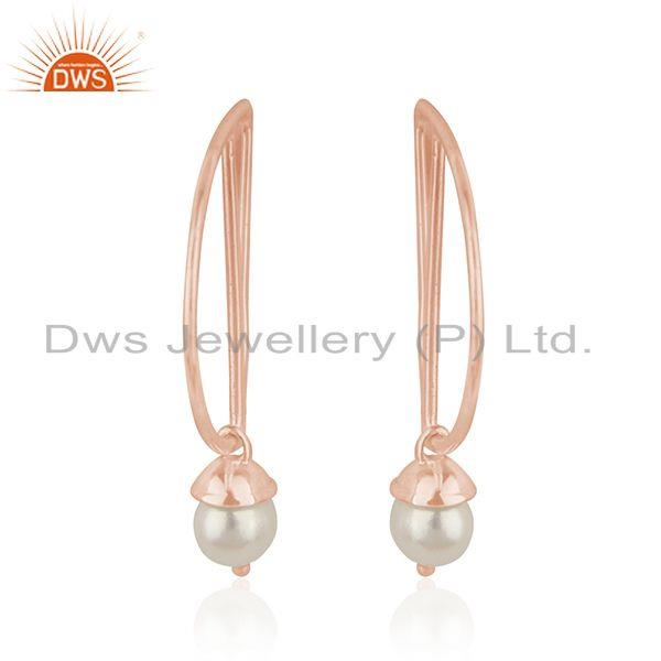 Exporter Designer Rose Gold Plated Silver Natural Pearl Gemstone Earrings Jewelry