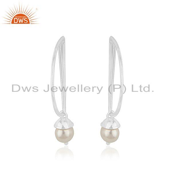 Exporter Sterling Fine Silver Designer Natural Pearl Earrings Jewelry Supplier