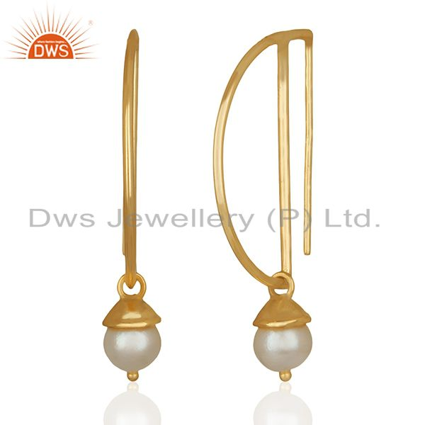 Exporter D Design 925 Silver Gold Plated Pearl Gemstone Earrings Wholesale