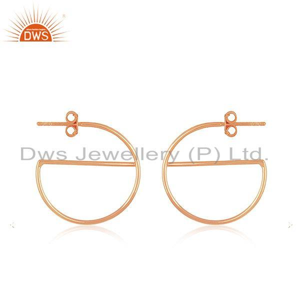 Exporter Handmade Rose Gold Plated Silver Earrings For Girls Jewelry