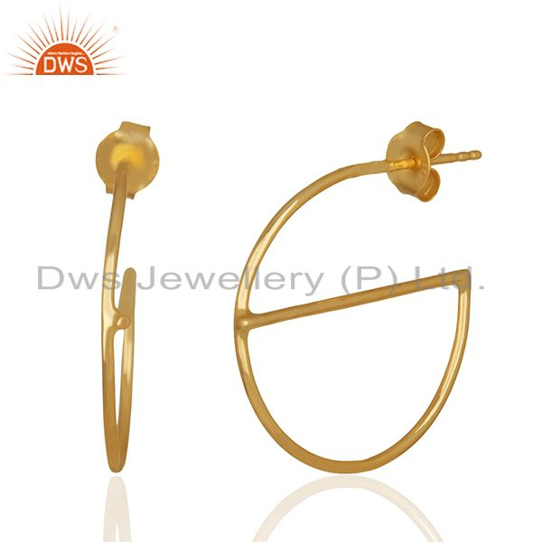 Exporter Small e Design 925 Sterling Silver Gold Plated Earrings Wholesale