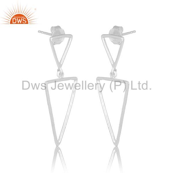 Exporter Triangle Shape 925 Sterling Plain Silver Designer Girls Earring Jewelry Supplier