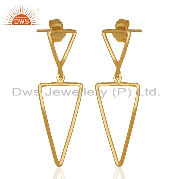 Exporter Multi Tirangle Design 925 Silver Gold Plated Dangle Earrings Jewelry
