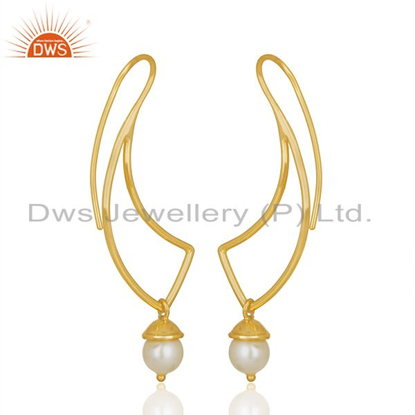 Exporter 2017 New Designer 925 Silver Gold Plated Pearl Earrings Wholesale