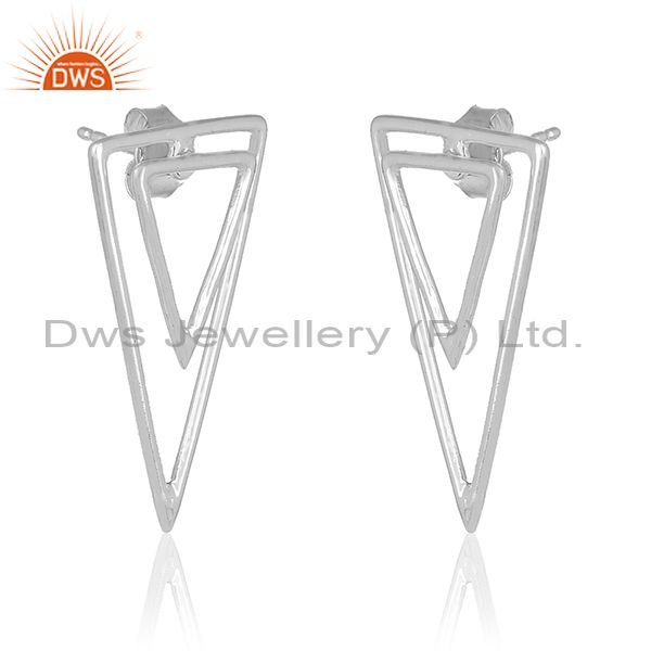 Exporter Triangle Shape 925 Sterling Silver Designer Girls Earrings Manufacturer