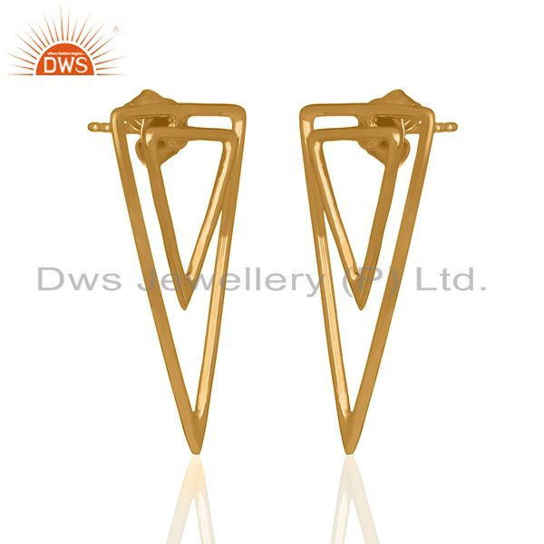 Exporter Tirangle Design Sterling Silver Gold Plated Stud Earrings Supplier