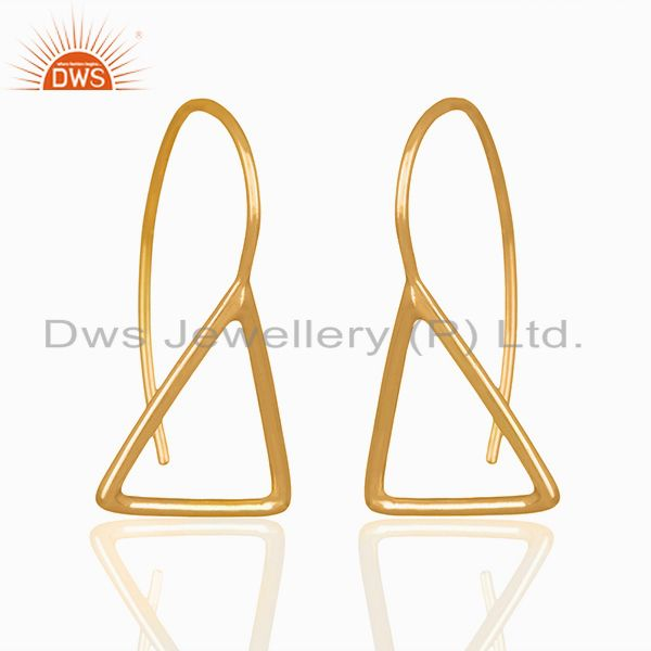 Exporter Solid Sterling Silver Gold Plated Tirangle Design Drop Earring Jewelry