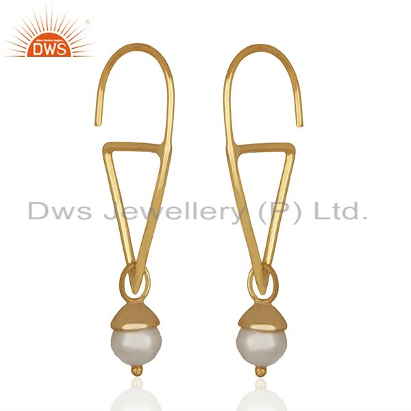 Exporter Fresh Watar Pearl 925 Silver Gold Plated Party Earrings Manufacturers